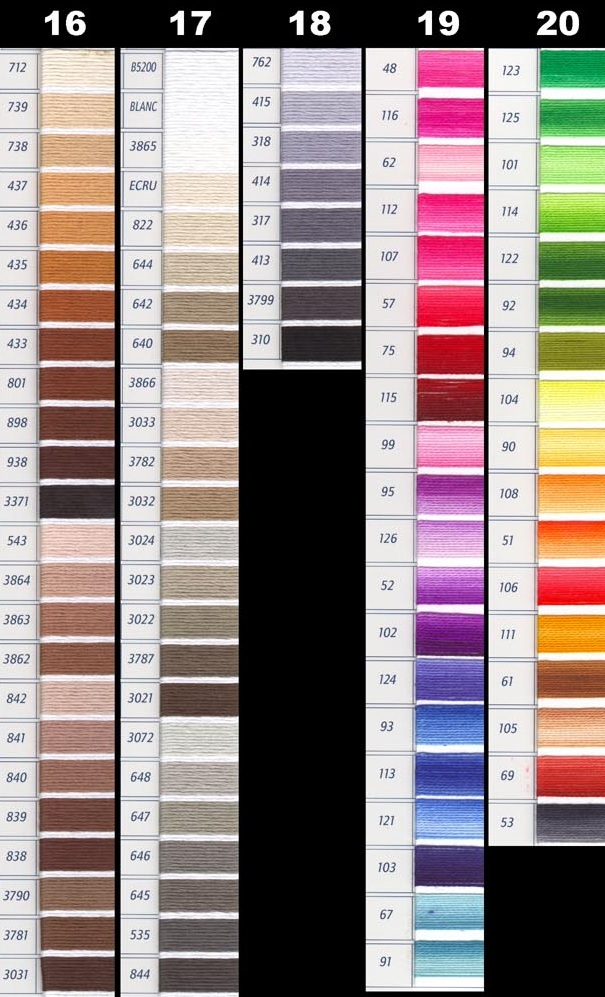 photo relating to Free Printable Dmc Color Chart named DMC Perle Threads Colour Chart - NAKPUNAR